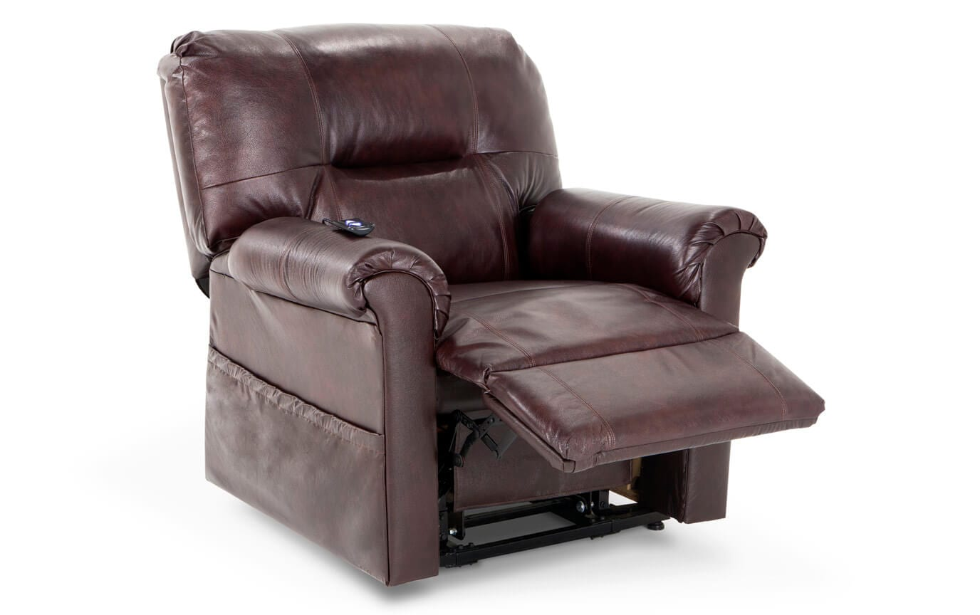 Leather Redwood Power Lift Recliner Bobs Com