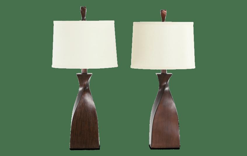 Set of 2 Atlanta Twist Bronze Lamps
