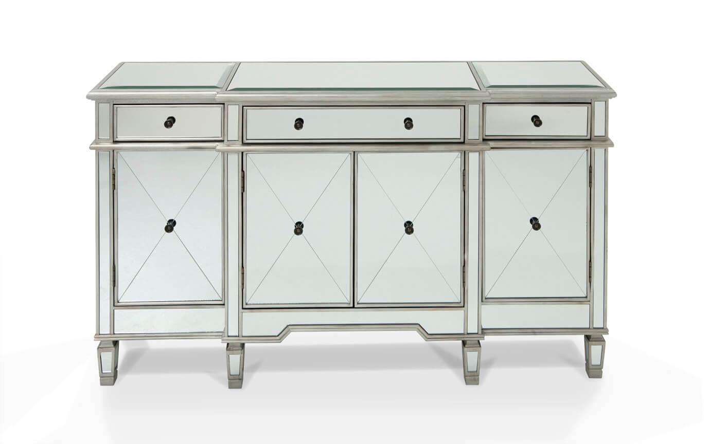 Silver Mirrored Credenza