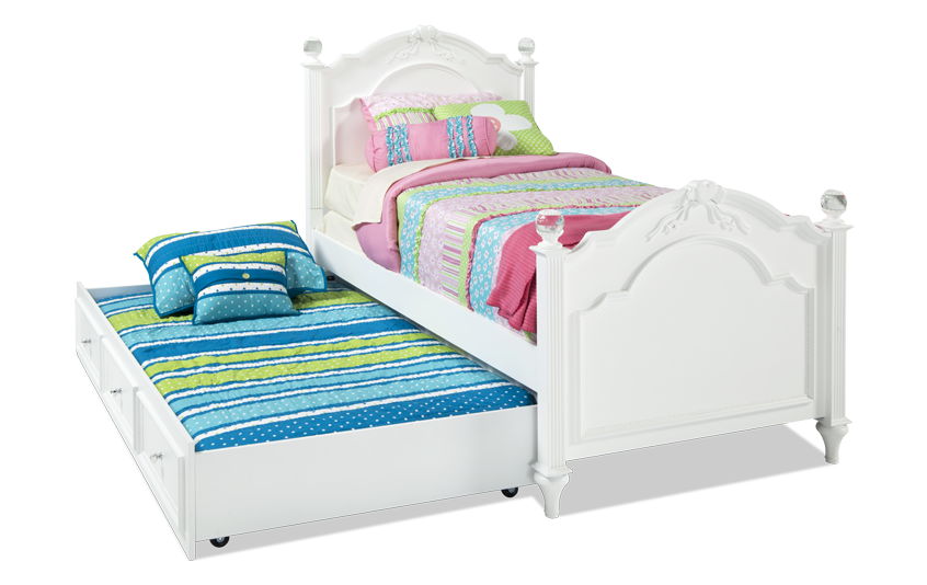 Madelyn Twin White Bed With Trundle