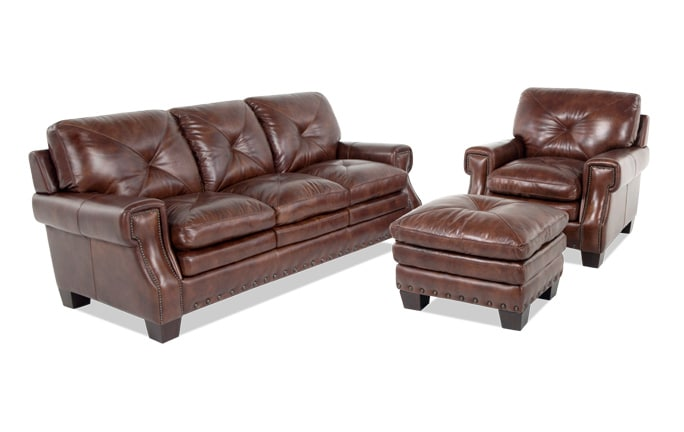Lawrence Leather Sofa, Chair & Ottoman