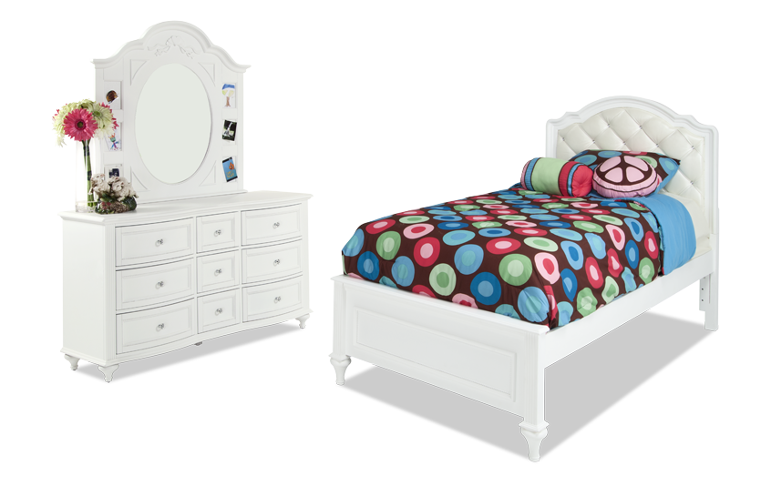 Madelyn Twin White Upholstered Youth Bedroom Set
