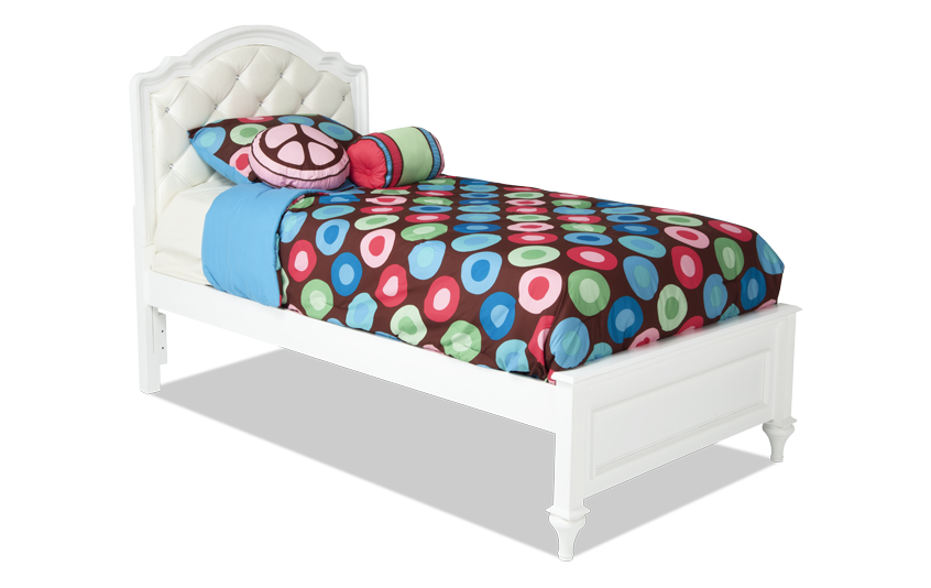 Madelyn Twin White Upholstered Bed