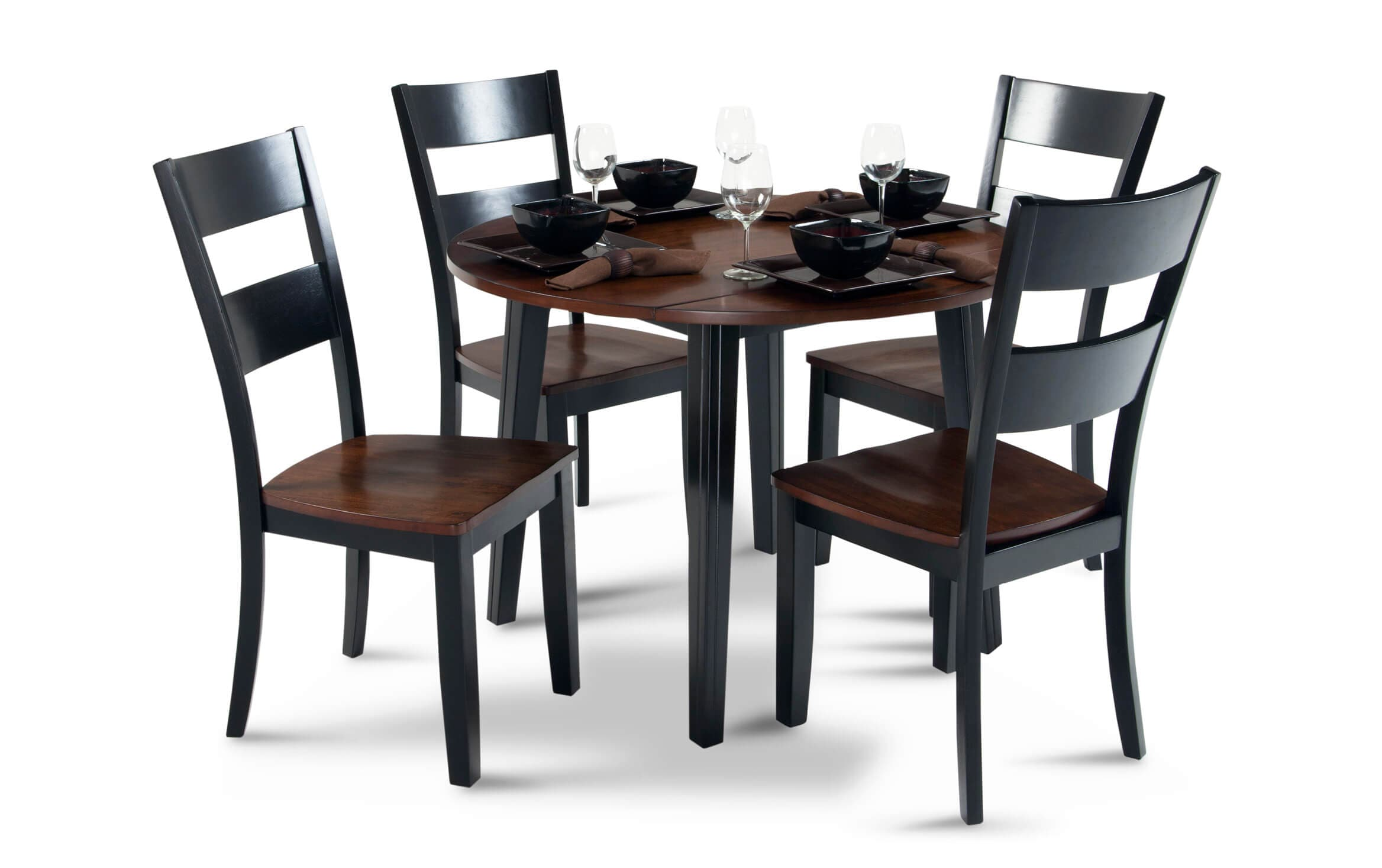Silver Dining Table And Chairs, Blake Cherry Black 5 Piece Drop Leaf Set Bobs Com