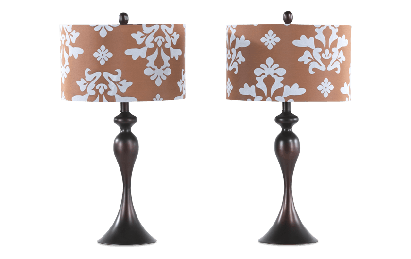 Set of 2 Blue & Brown Damask Lamps