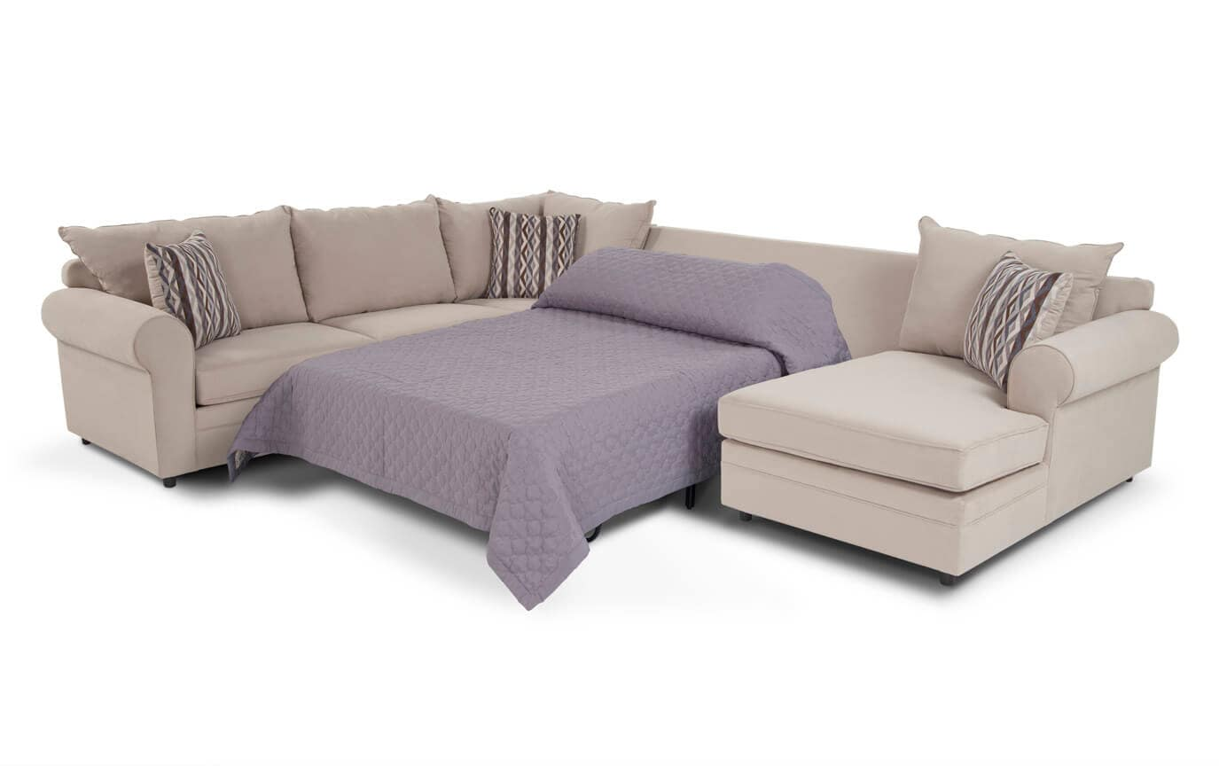Venus 4 Piece Left Arm Facing Bob-O-Pedic Gel Full Sleeper Sectional