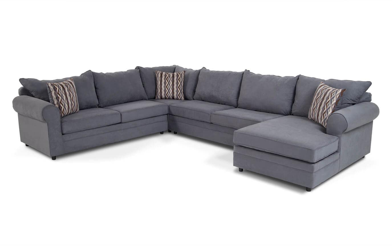 Venus Blue 4 Piece Left Arm Facing Sectional Bobs Com