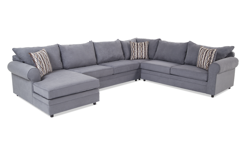 Venus Blue 4 Piece Right Arm Facing Sectional