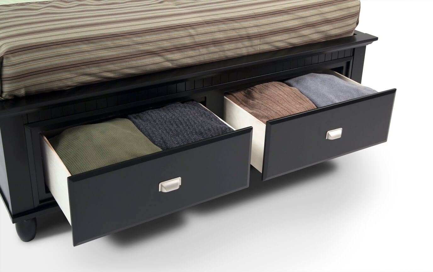 Spencer Queen Black Storage Bed