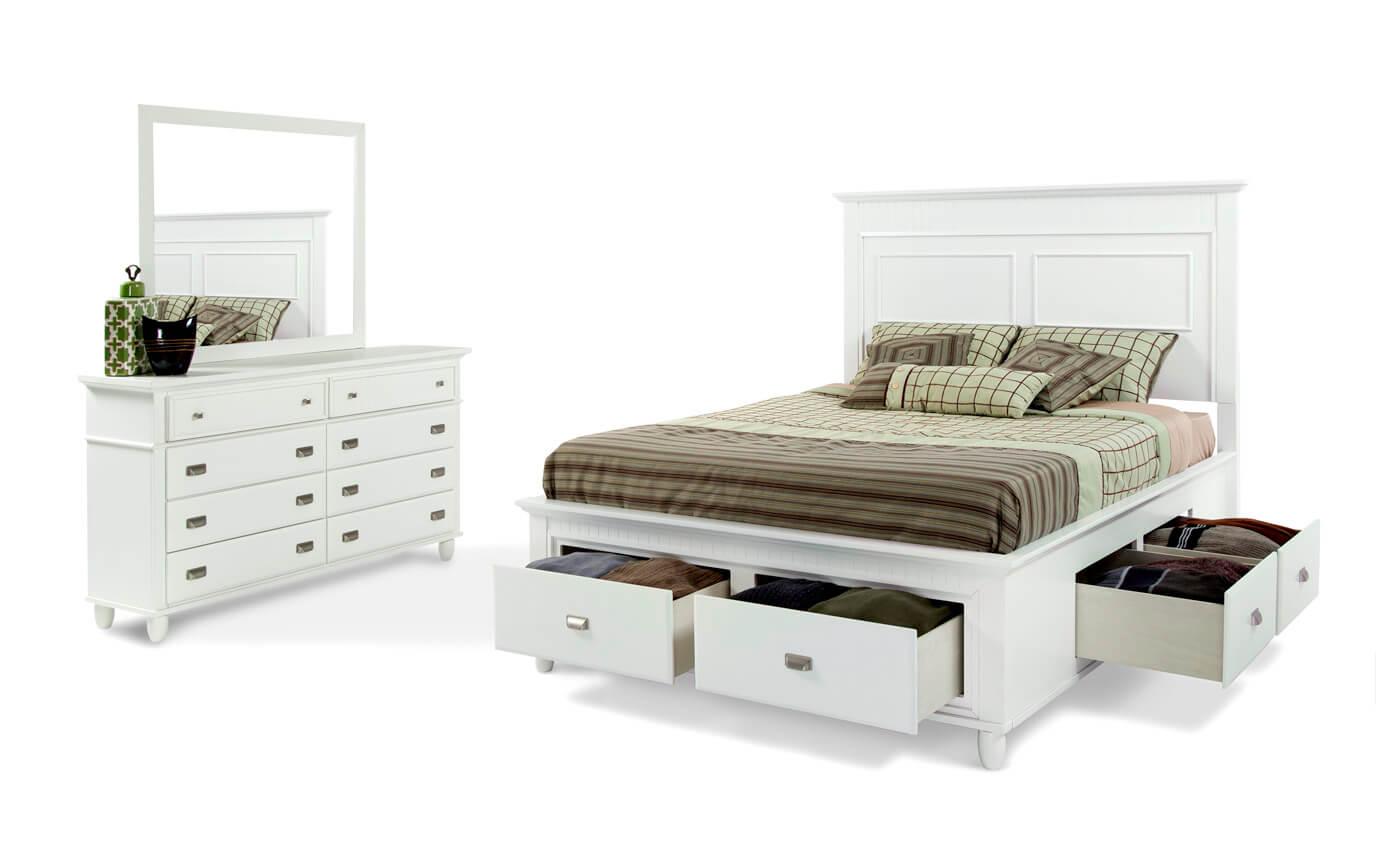 Spencer Storage Full White Bedroom Set