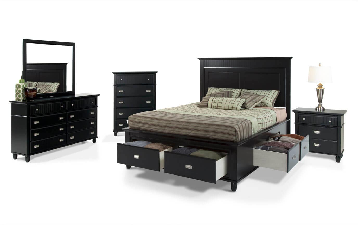 Spencer Storage Queen Black Bedroom Set