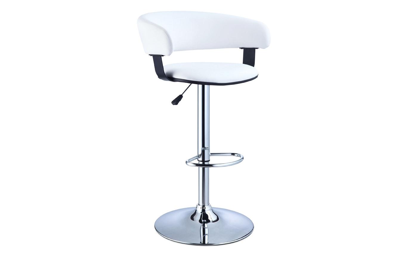White & Chrome Scoop Back Bar Stool