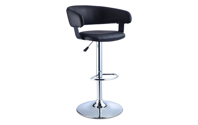 Black & Chrome Scoop Back Bar Stool