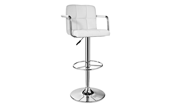 Adjustable White Bar Stool