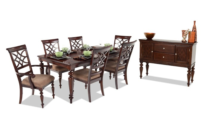 dining room table set. Woodmark 8 Piece Dining Set Room Sets  Bob S Discount Furniture