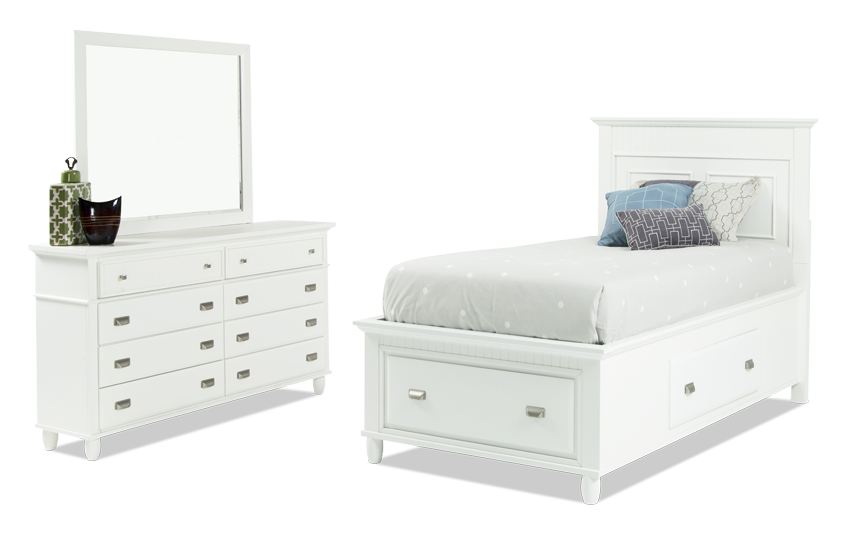 Spencer Storage Twin White Bedroom Set