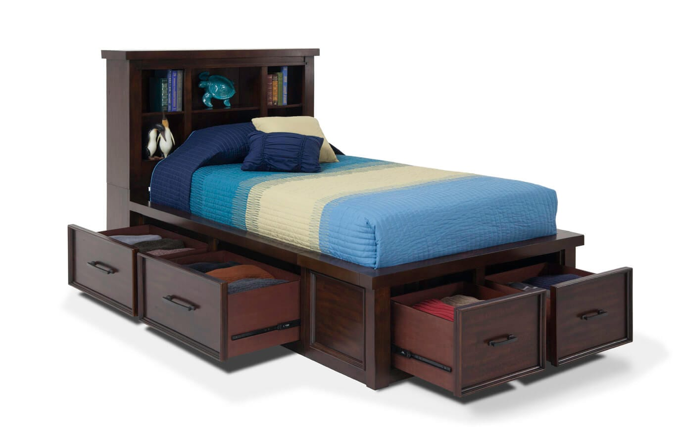 Hudson Youth Full Storage Bookcase Bed