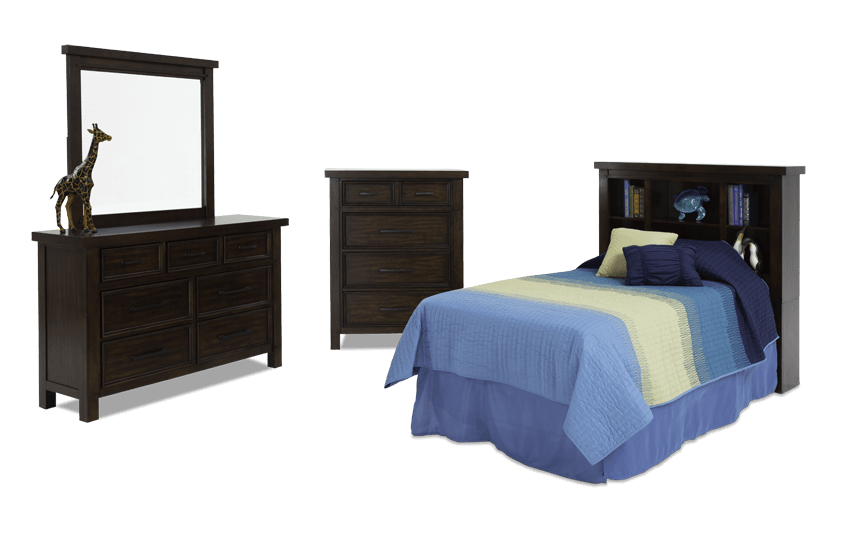 Hudson Youth 4 Piece Bookcase Bedroom Set