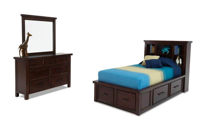 Hudson Youth 6 Piece Full Bookcase Bedroom Set