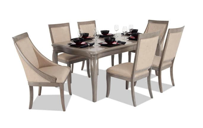 Gatsby 7 Piece Dining Set With Side Chairs & Swoop Chairs