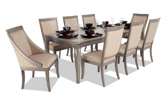 Gatsby 9 Piece Dining Set with Side Chairs & Swoop Chairs