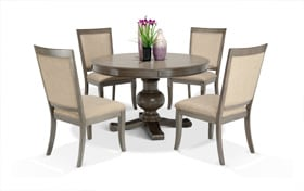Gatsby Round Gray 5 Piece Dining Set With Side Chairs