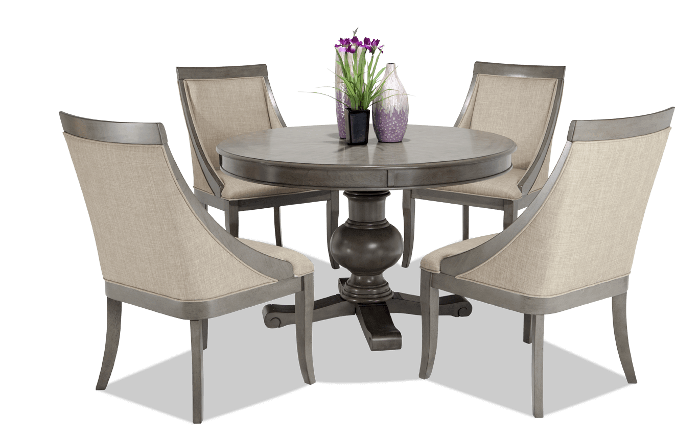 gatsby round 5 piece dining set with swoop chairs. Black Bedroom Furniture Sets. Home Design Ideas