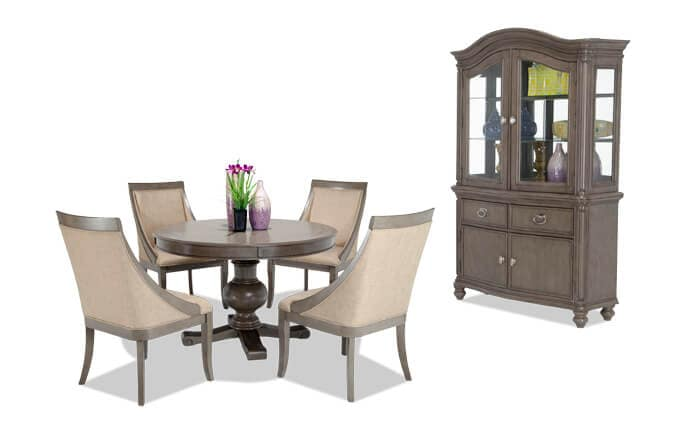 Gatsby Round 7 Piece Dining Set with China & Swoop Chairs