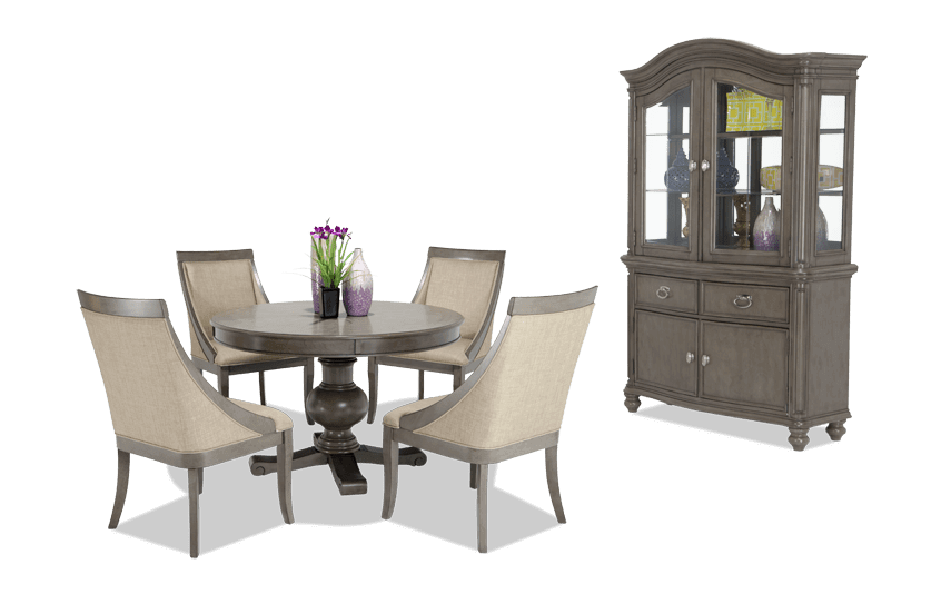 Attirant Gatsby Round 7 Piece Dining Set With China U0026 Swoop Chairs