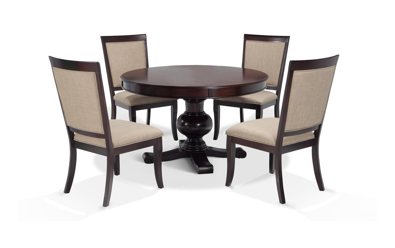 37c4598bf5365c Gatsby Round Cherry 5 Piece Dining Set With Side Chairs | Bobs.com