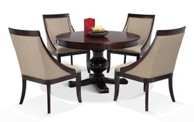 Gatsby Round Cherry 5 Piece Dining Set With Swoop Chairs