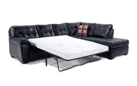 Mercury Black Bob-O-Pedic Gel Left Arm Facing Queen Sleeper Sectional