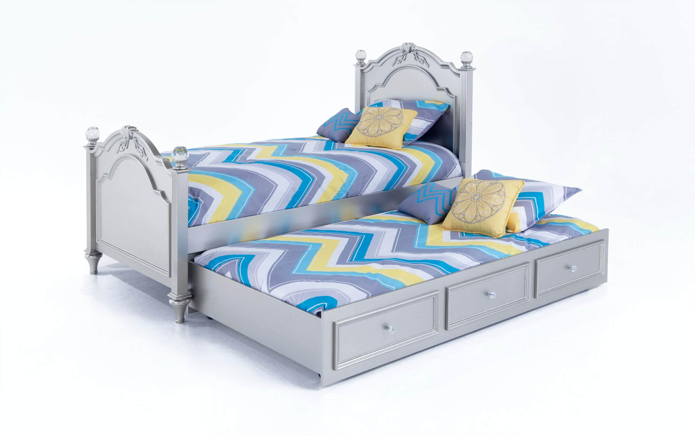 Madelyn Twin Platinum Bed With Trundle Bobs Com