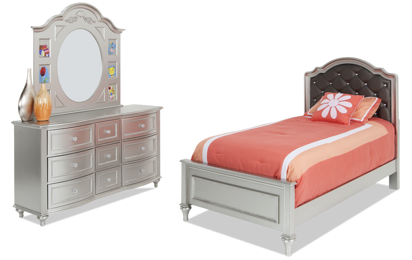 Madelyn Twin Platinum Upholstered Youth Bedroom Set