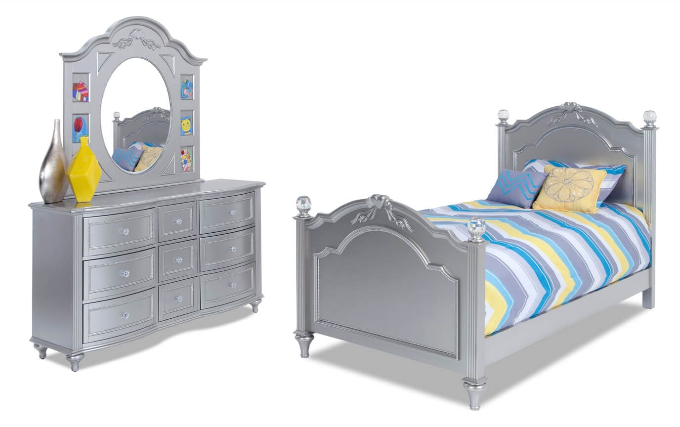 Madelyn Youth Full Platinum Bedroom Set