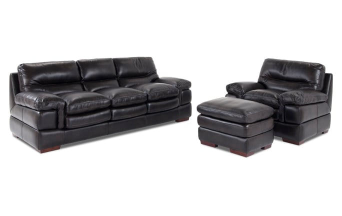 Carter Leather Sofa, Chair & Ottoman
