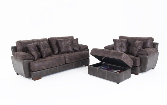 Nevada Sofa & Chair 1/2 With Storage Ottoman