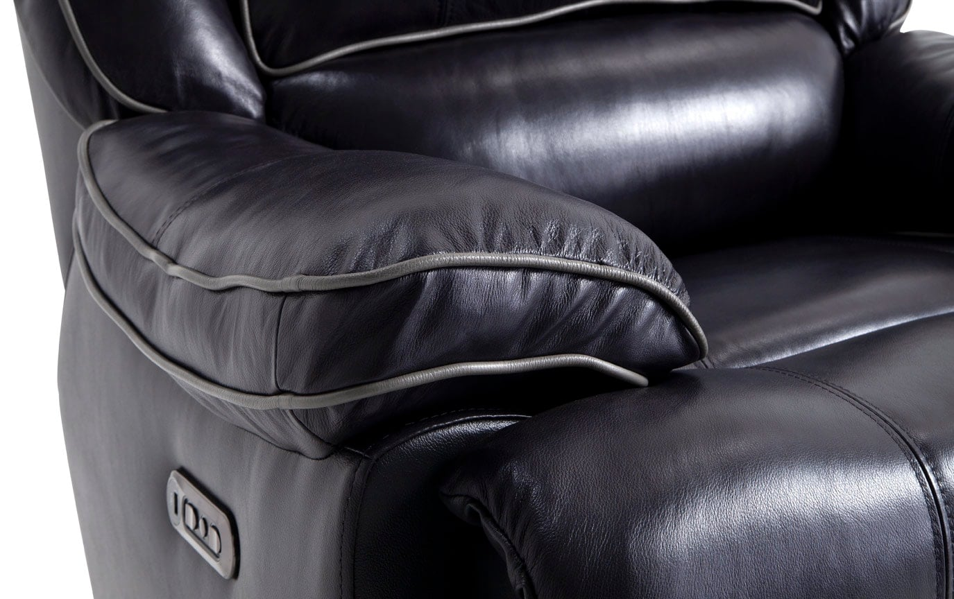 Phoenix Power Black Leather Recliner
