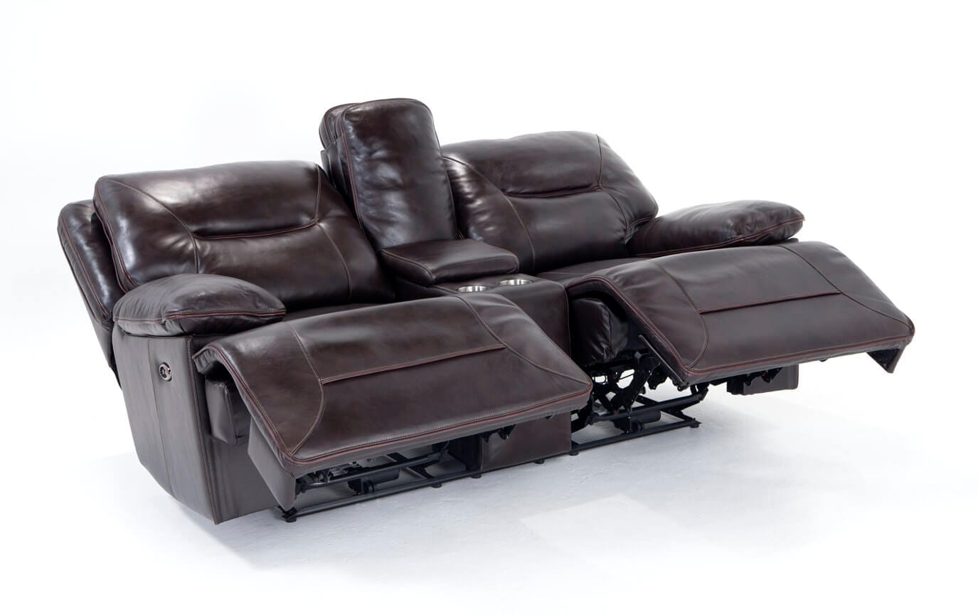 Marco Leather Power Reclining Console Loveseat