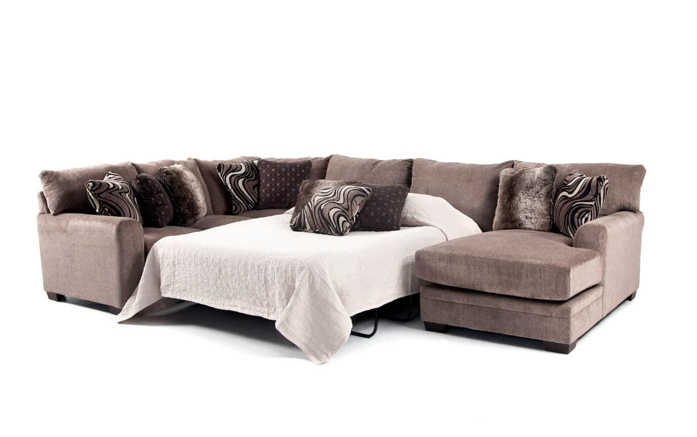 Luxe 4 Piece Left Arm Facing Innerspring Queen Sleeper Sectional With Chaise