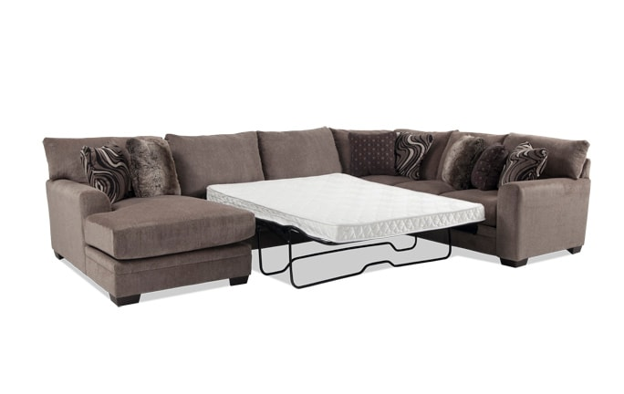 Luxe 4 Piece Right Arm Facing Innerspring Queen Sleeper Sectional With Chaise