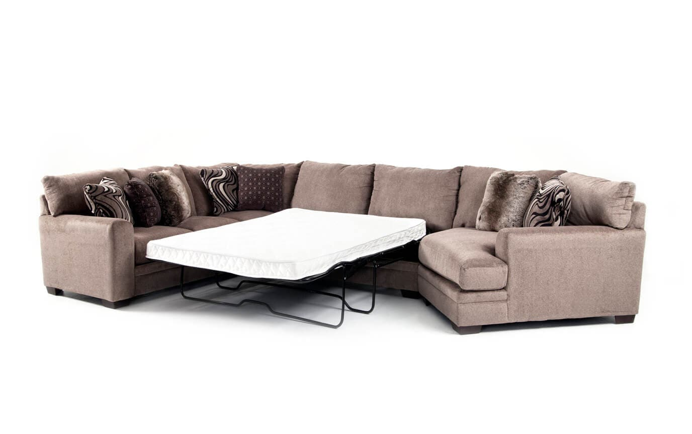 Luxe 4 Piece  Innerspring Queen Sleeper Sectional With Cuddler