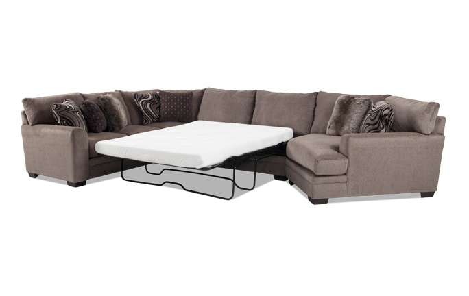 Luxe 4 Piece Left Arm Facing Bob-O-Pedic Gel Queen Sleeper Sectional with Cuddler