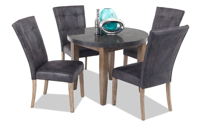 Montibello 40 Round 5 Piece Dining Set 599 00 Gray Marble Wirebrush Finish Brown White Dark Espresso