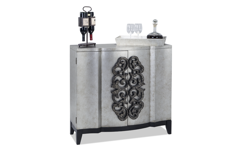 Metallic Two Door Wine Cabinet