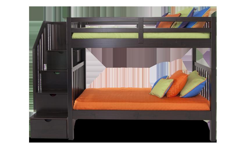 Keystone Twin Espresso Stairway Bunk Bed