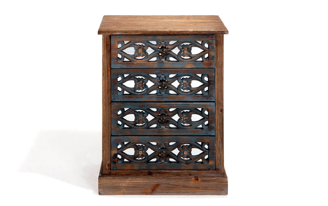 Mirrored Filigree Four Drawer Chest