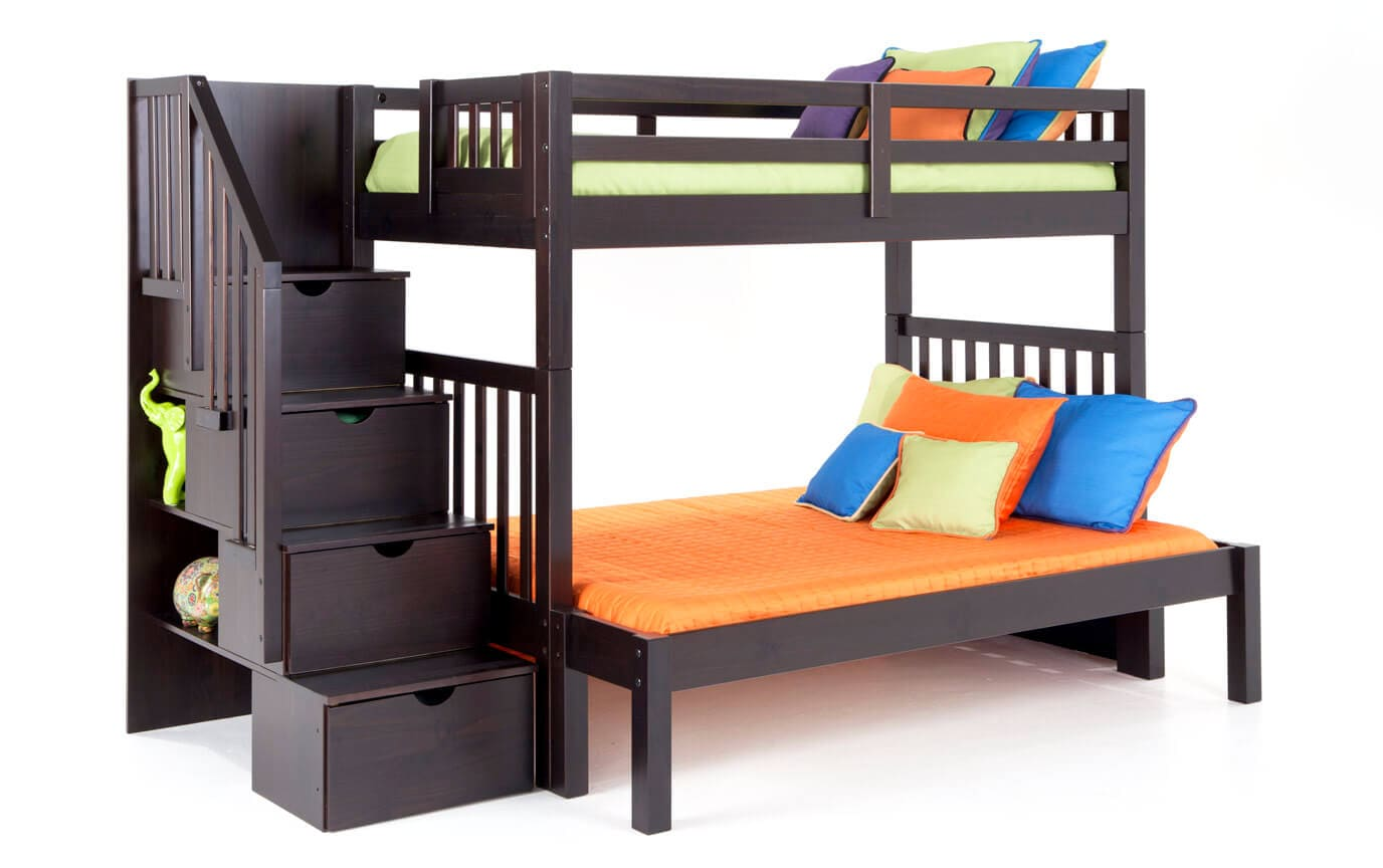 full twin bunkbed bed beds search sesametwinfullmaple bunk over