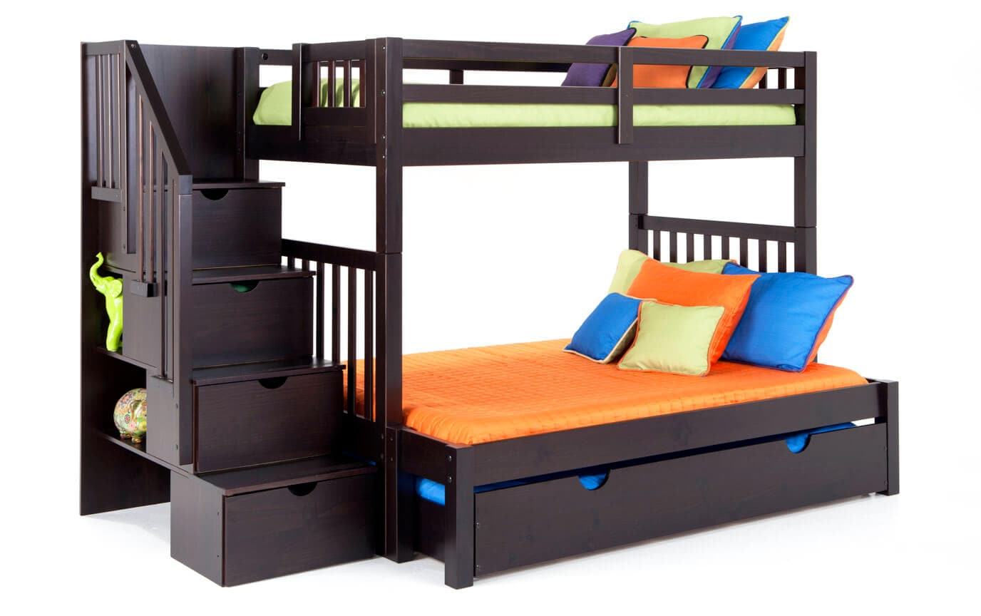Keystone Stairway Twin Full Bunk Bed With Storage Trundle Unit