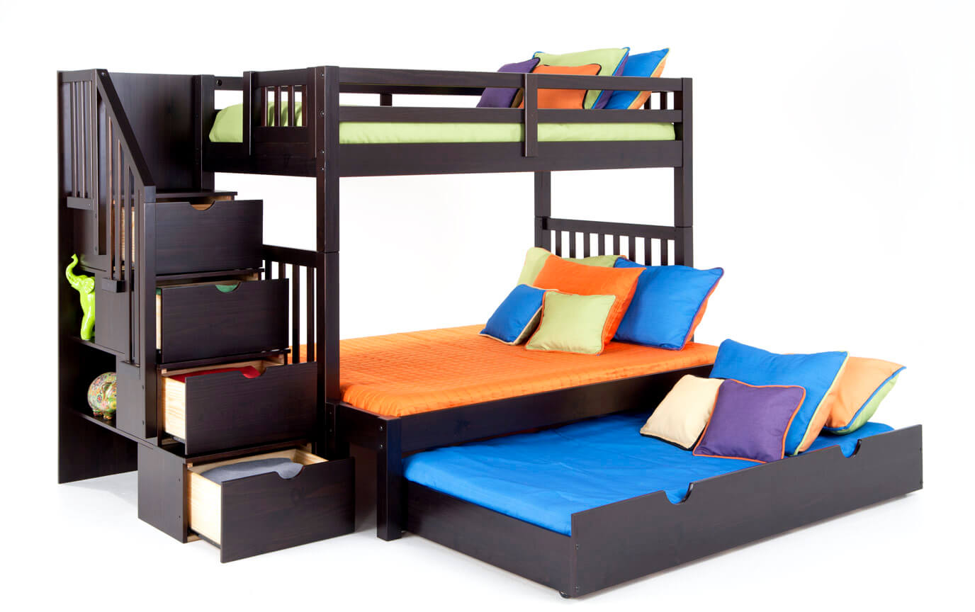 Keystone Stairway Twin/Full Espresso  Bunk Bed With Storage/Trundle Unit
